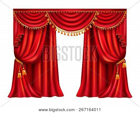 Wrinkled Red Curtain With Lambrequin Decorated Golden Tassels Realistic Vector Isolated On White Bac