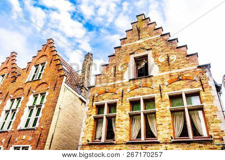 Historic Houses With Step Gables In The Historic Center Of The Medieval City Of Bruges, Belgium