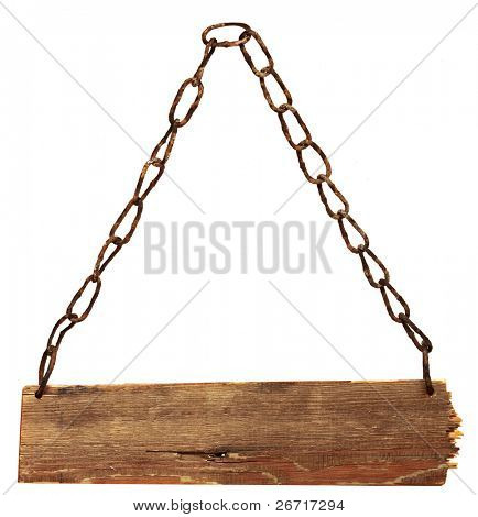 vintage signboard with chains isolated on a white background