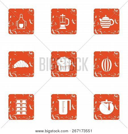 Lactic Icons Set. Grunge Set Of 9 Lactic Vector Icons For Web Isolated On White Background