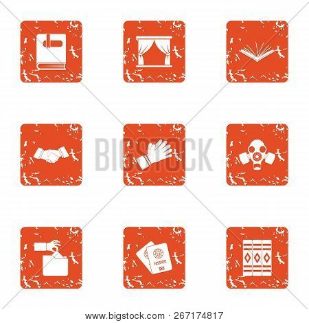 Diplomacy Icons Set. Grunge Set Of 9 Diplomacy Vector Icons For Web Isolated On White Background