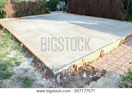 Base Plate Made Of Concrete Foundation For Construction Of House
