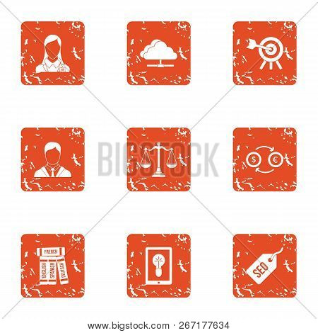 Seo Exchange Icons Set. Grunge Set Of 9 Seo Exchange Vector Icons For Web Isolated On White Backgrou