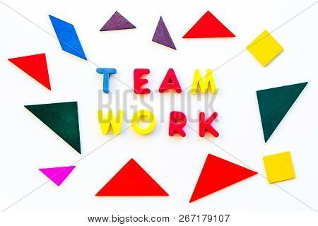 Teamwork Concept. Teamwork Techniques For Students. Text Teamwork Lined With Colored Letters In Abst