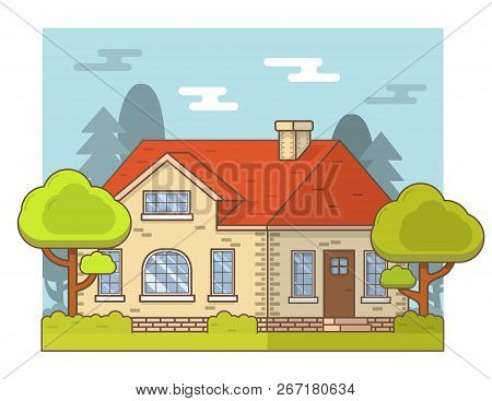Summer Country Private Cottage Rural Landscape,house Trees And Bushes.building Facade With Windows A