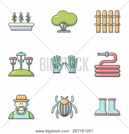 Lawn Laying Icons Set. Cartoon Set Of 9 Lawn Laying Vector Icons For Web Isolated On White Backgroun