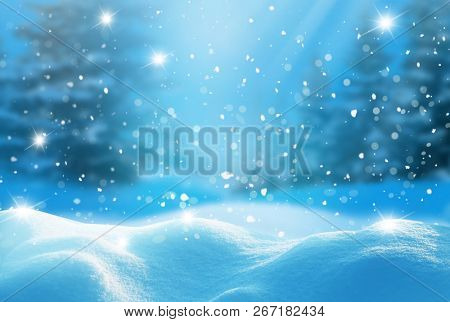 Winter  background .Merry Christmas and happy New Year greeting card with copy-space. Christmas landscape with snow and fir trees