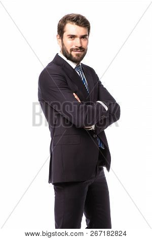 Elegant Man In Suit On White Background