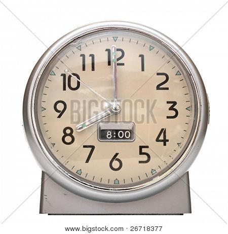 red old style alarm clock on white