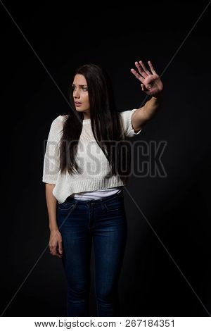White caucausian girl posing emotionally on plain background - isolated poster