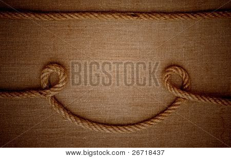 frame made of ropes with a canvas of burlap
