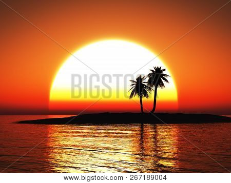 3d Rendering Of A Beautiful Warm Tropical Sunset With Palm Trees In Silhouette.