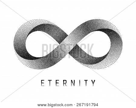 Stippled Eternity Sign. Mobius Strip Symbol. Vector Textured Illustration On White Background.