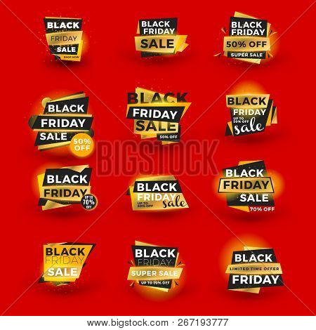 Set Of Black Friday Sale Sticker. Discount Banners. Special Offer Sale Tag. Golden And Black Color T