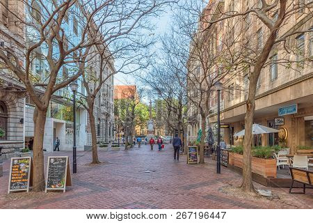 Cape Town, South Africa, August 17, 2018: The View Down St Georges Street Mall Towards St Georges Ca