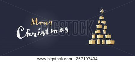 Christmas Time. Christmas Card With Tree Made By Gifts In Festive Colors. Text : Merry Christmas.