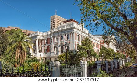 Cape Town, South Africa, August 17, 2018: The Parliament Buildings In Cape Town. Palm Trees Are Visi