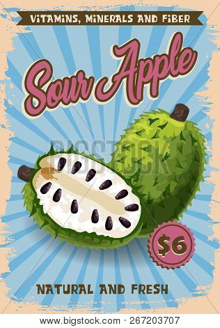 Soursop Apple Exotic Fruit Vector Price Or Advertisement Poster. Vector Design Of Graviola, Guyabano