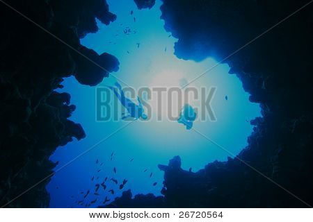 Scuba Divers silhouetted against the sun as they drop into an underwater canyon