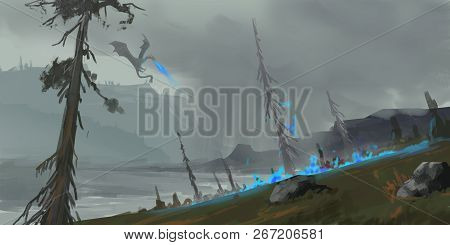 Dragon Land. Fantasy Topic. Spitpaint. Concept Art. Fast Drawings. Sketch Paint. Realistic Style. Vi