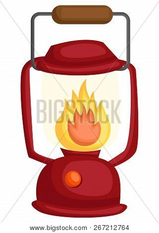 A Vector Of A Lamp With Fire Burning In It