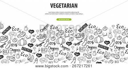 Go Vegan. Healthy Food. Vegetarian Banner. Hand-draw Doodle Background. Vector Illustration