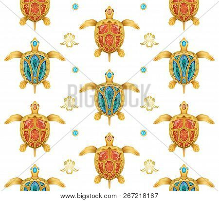 Decorative Background Of Golden Turtles On A White Background