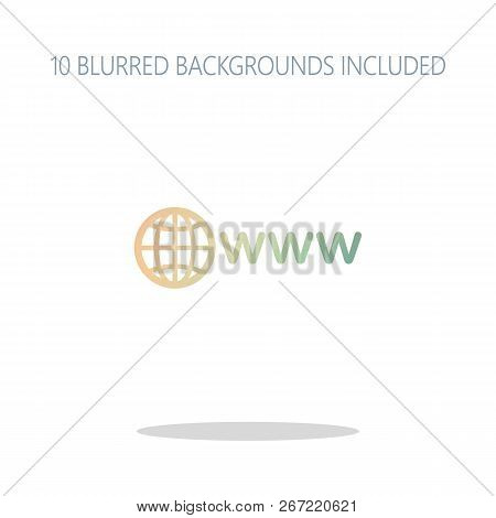 Symbol Of Internet With Globe And Www. Colorful Logo Concept With Simple Shadow On White. 10 Differe