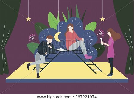 Flat Vector Illustration Of Artists Who Teach Roles In The Drama Theater. Man And Woman Sit On Stair