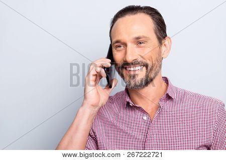 Portrait Of Cheerful Attractive Handsome Good-looking Stand Isolated On Light Gray Background Look A