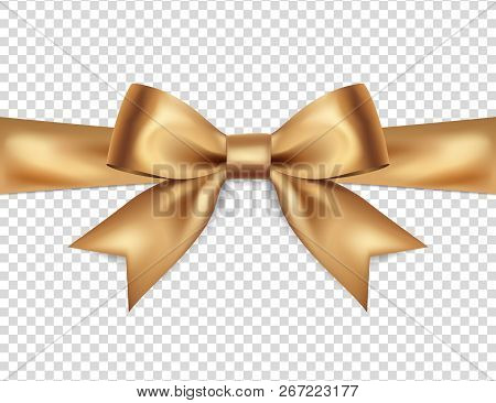 Beautiful Golden Bow Isolated On Transparent Background, Satin Bow For Gift, Surprise, Christmas Pre