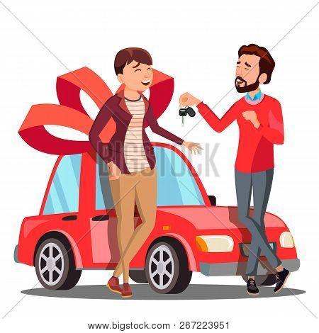 Man Giving Woman Keys Of Red Car Vector. Present, Gift. Illustration
