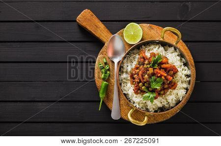 Vegan Curry With Green Peas And Basmati Rice Served On A Wooden Table Tray, Healthy Indian Comfort F