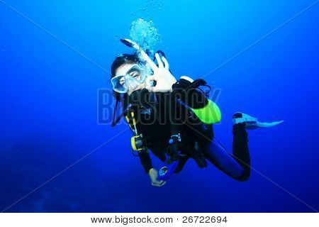 Scuba Diver signals that she is okay
