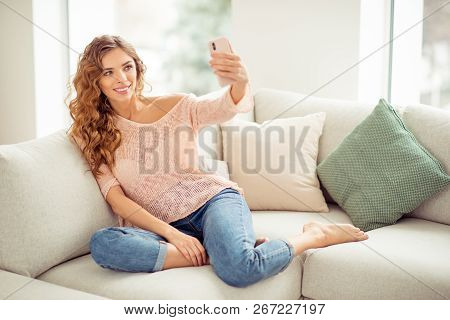 Full Legs Body Size Romantic Carefree Careless Cheerful Sweet Nice Pretty Lady In Soft Pullover Deni