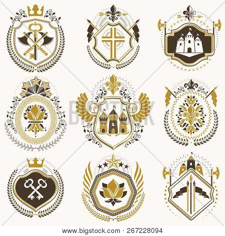Set Of Luxury Heraldic Vector Templates. Collection Of Vector Symbolic Blazons Made Using Graphic El