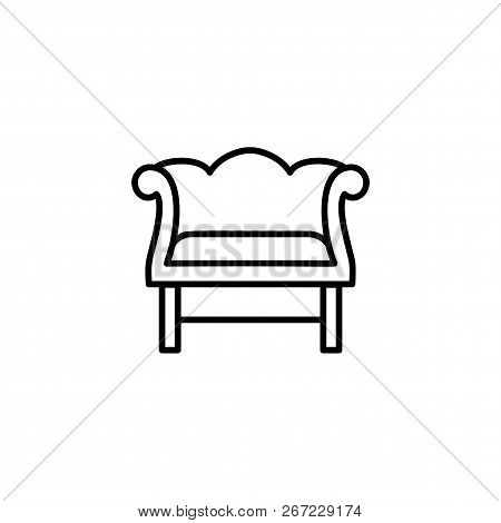 Black & White Vector Illustration Of Retro Wooden Armchair With Decorative High Back. Line Icon Of V