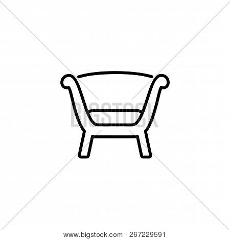 Black & White Vector Illustration Of Comfortable Wooden Armchair With High Back. Line Icon Of Arm Ch