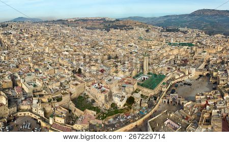 Aerial panorama of old Medina in Fes and the Medersa, Morocco (Fes El Bali Medina) poster