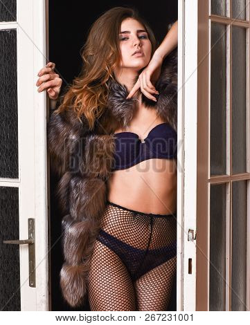 Female Lover Enter Bedroom Doors. Fashion Lady Confident And Seductive. Woman Seductive Appearance.