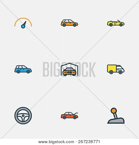 Automobile Icons Colored Line Set With Station Wagon, Crossover, Hood And Other Shed Elements. Isola