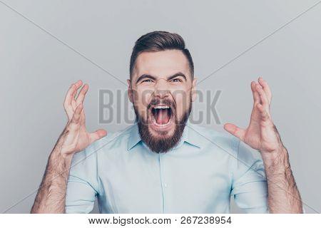 Close Up Studio Photo Portrait Of Bad Frightening Rage Arguing Emotional  Problem Fail Failure Guy L
