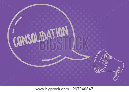 Text sign showing Consolidation. Conceptual photo Action or process of making something stronger or more solid poster