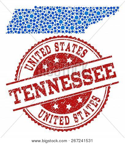 Compositions Of Blue Map Of Tennessee State And Red Grunge Stamp Seal. Mosaic Map Of Tennessee State