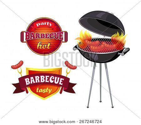 Party Barbecue Isolated Icons Set Vector. Shield With Ribbons And Flames, Roasted Sausages On Roaste