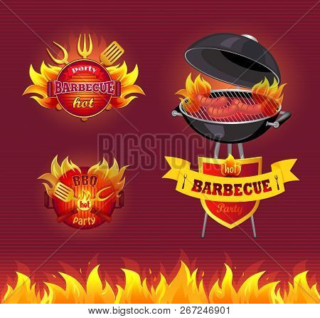 Party Barbecue Hot Bbq Isolated Vector. Frying Pan And Brazier With Hot Fire And Cooking Sausages On