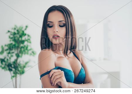 Dream Wish Love Lover Intimacy Concept. Close Up Portrait Of Beautiful Attractive Pretty Dreamy Char