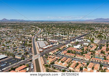Aerial View From Above The Consolidated Canal In Mesa, Arizona Near The Intersection Of University D