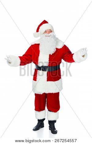 Santa Claus With Shrug Gesture Isolated On White