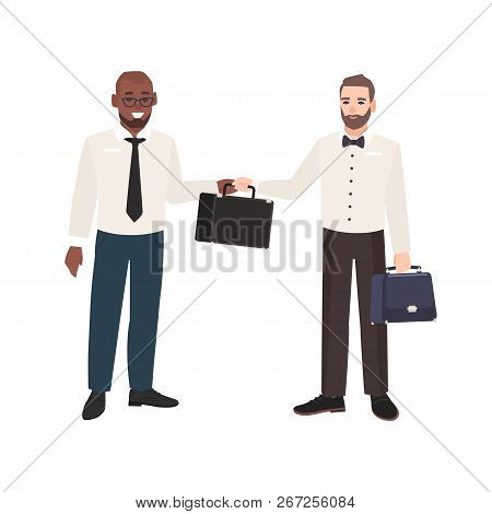 Smiling Bearded Man Passing Briefcase To His Business Partner Isolated On White Background. Scene Wi